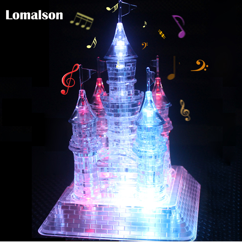 3D L'assemblée Cristal Château Puzzle 3D Musical Puzzle avec Belle Lumière-Up la Construction Éducatifs Pour Enfants jouet pour Cadeau De Noël