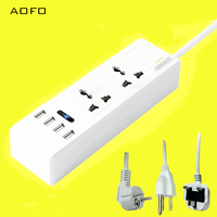 AOFO Multi functional USB Power Strip Indoor Socket 2 Way Surge Protector with 2 Universal Electrical AC Power Sockets