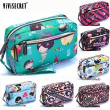 New Women Small Cosmetic Makeup Toiletry Bag Waterproof Harajuku Floral Emoji Printing Travel Organizer Pouch Designer Wallet