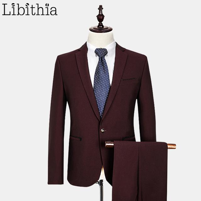 (Jaqueta + Calça) Ternos Formais Com Calças Casacos De Lã dos homens de luxo Slim Fit Ternos Para Homens Vestido de Casamento Clássico Vinho Tinto E547