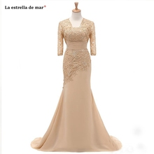 Abiti mamma della sposa new lace chiffon half sleeve champagne sexy mermaid mother