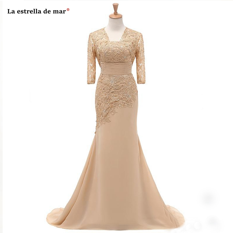 Abiti mamma della sposa nouvelle dentelle mousseline de soie demi manches champagne sexy sirène mère robe de mariée longs vestidos madre novia