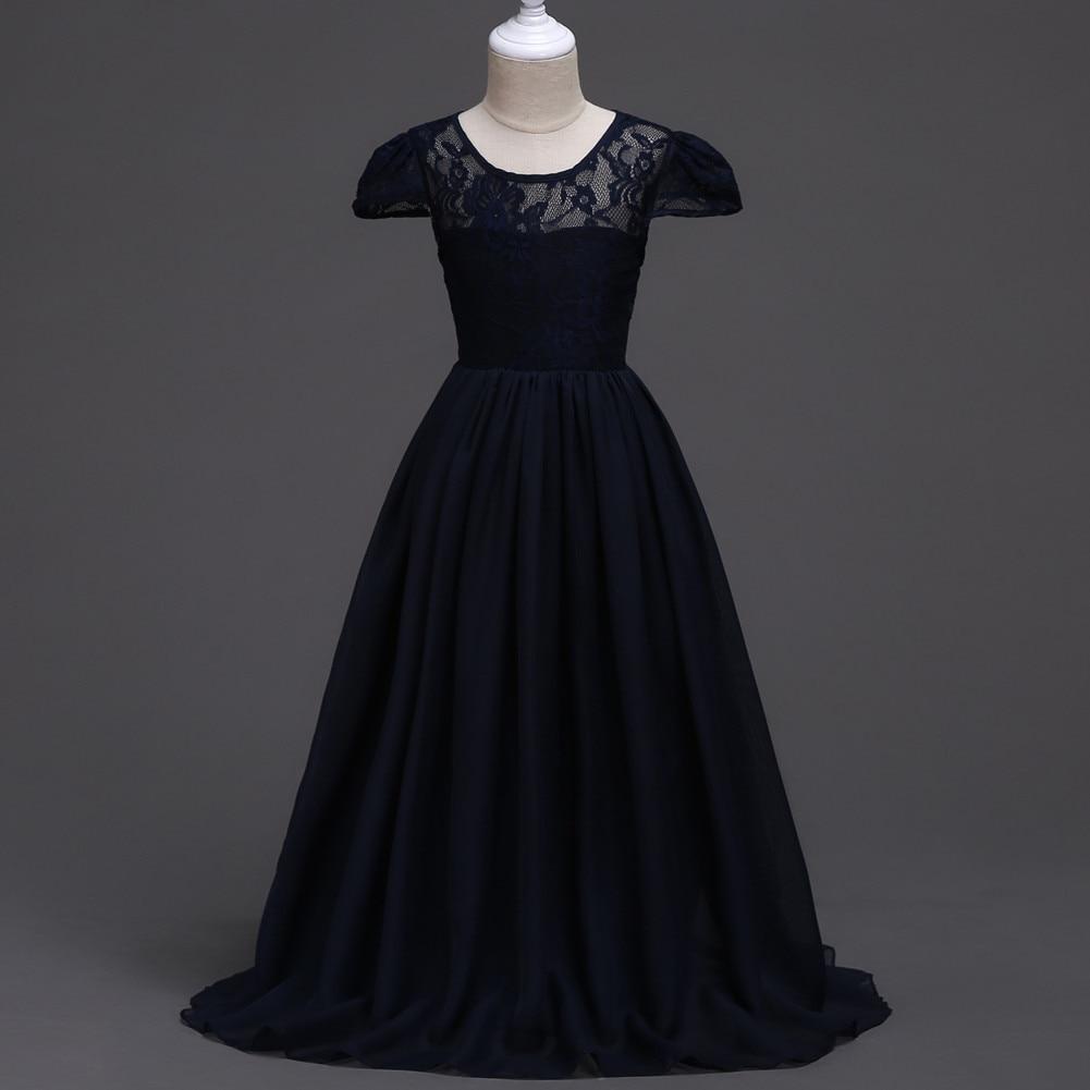 Floral Girl Dress O-neck Black/Pink/Blue Ball Gown Children Short Sleeve Chiffon Long Wedding Princess Dress Baby Party Dresses girl dress baby girl princess chiffon