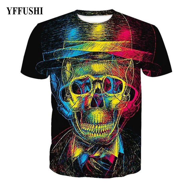 YFFUSHI 2018 Patchworked 3D Colorful Skull Print T shirt Cool Men Hip Hop Tees Funny Black Summer Cool Men t-Shirt Plus Size 5XL