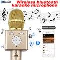 Bluetooth для беспроводной микрофон Ручной Мобильный телефон петь караоке конденсаторный микрофон mic аудио запись диктора усилитель ктв динамик
