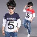 Crianças Camisetas Para Meninos Roupas 2 Meninos de Manga Longa Camisetas Crianças vestuário 4 Algodão Tees Tops 8 Outono Uniforme Escolar 10 Anos