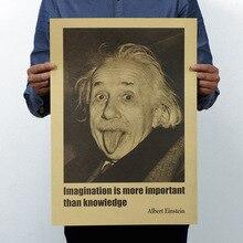 Альберт Эйнштейн воображение Винтаж Классический плакат карта домашний офис украшение гаража Настенный декор Искусство ретро школа печать