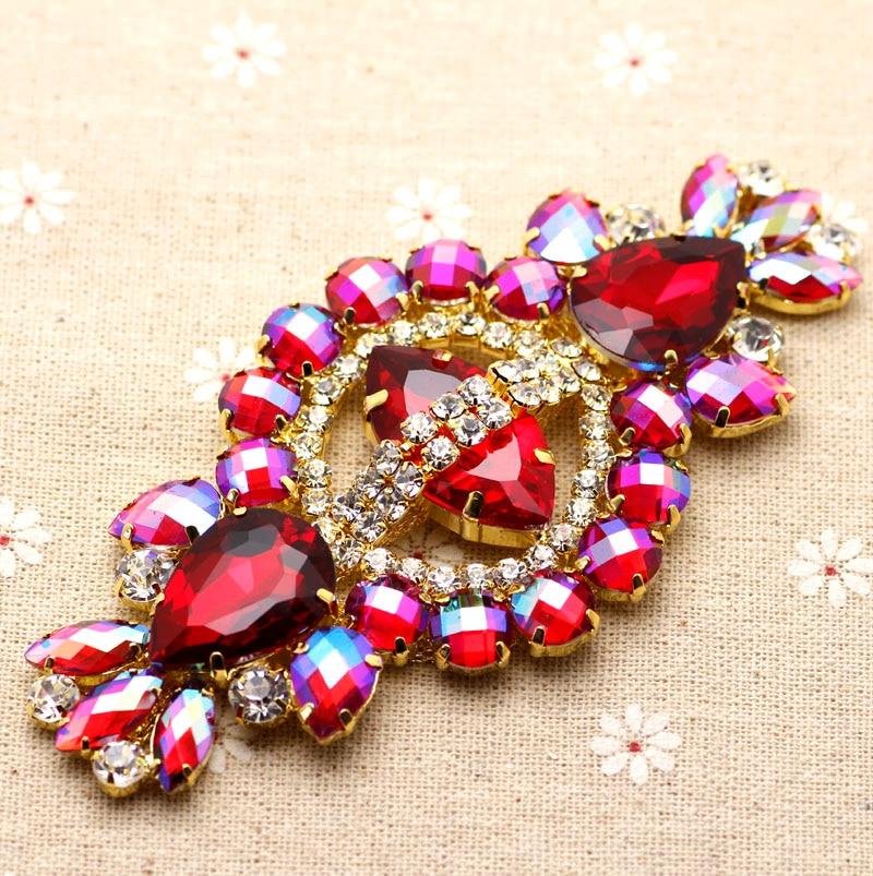 12*5.8cm Glass+resin Red AB rhinestone applique Gold Base wedding Dress Belt Rhinestone Chain Sew on Party Dress Decoration