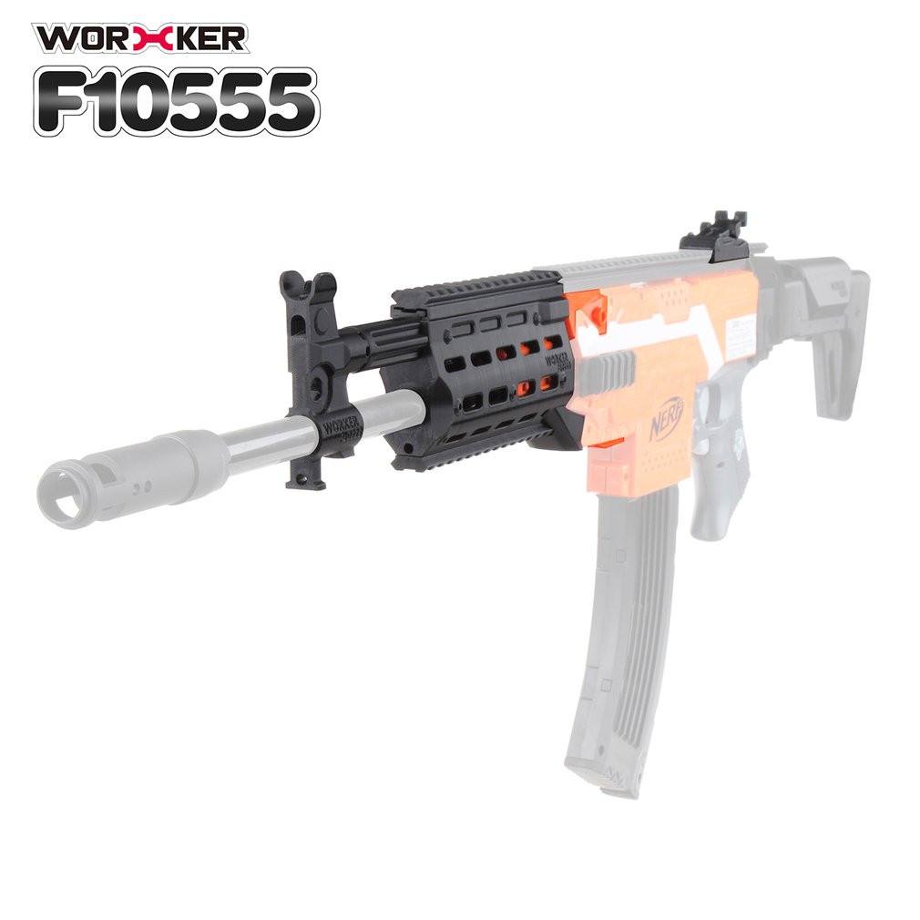 WORKER 3D Printing Modularized NO.153 Modified Kit + Straight Grained Pipe + Front Tube Decorative Cap for Nerf Stryfe Toys