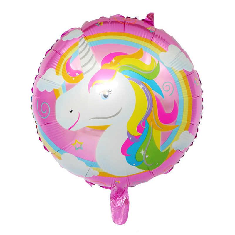 HOT 1pcs 18 pollici arcobaleno unicorn pellicola di alluminio neon palloncino baby shower bambini di compleanno decorazione di cerimonia nuziale per bambini giocattoli MIDU