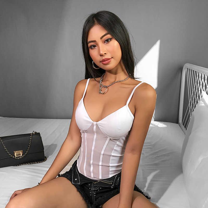 HEYounGIRL белый лоскутный сетчатый боди с открытой спиной прозрачный боди для женщин сексуальный топ Cami ремень Облегающий комбинезон лето