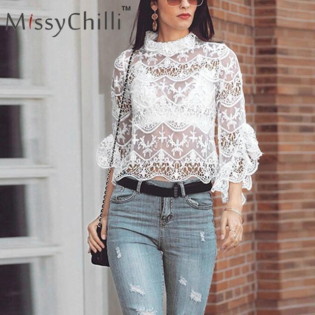 MissyChilli Lace mesh ruffles blouse shirt women Sexy transparent elegant white tops Female flare sleeve turtleneck summer shirt