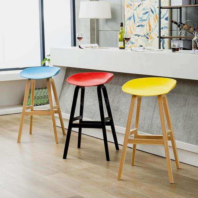 Nordic Solid Wood Bar Chair Bar Chair Bar Stand Modern Simple Stand Household Leisure Bar Chair Cafe Stand 1