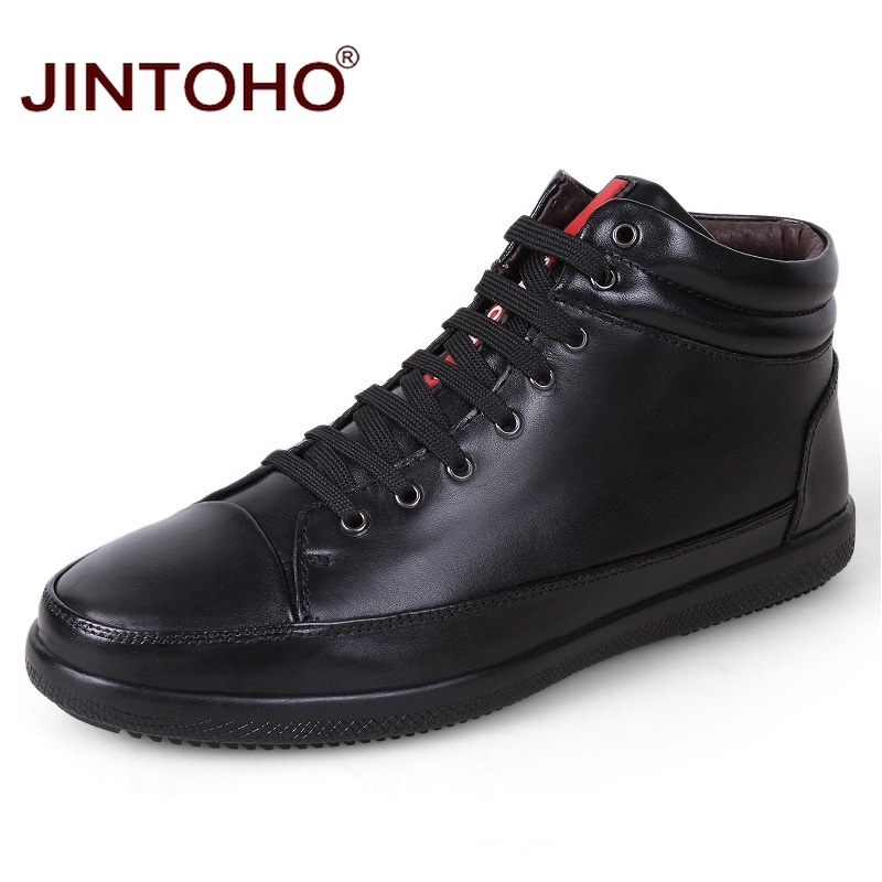 JINTOHO 100 Genuine Leather Men Ankle Boots Winter Warm Fashion Men Real Leather Boots With Fur