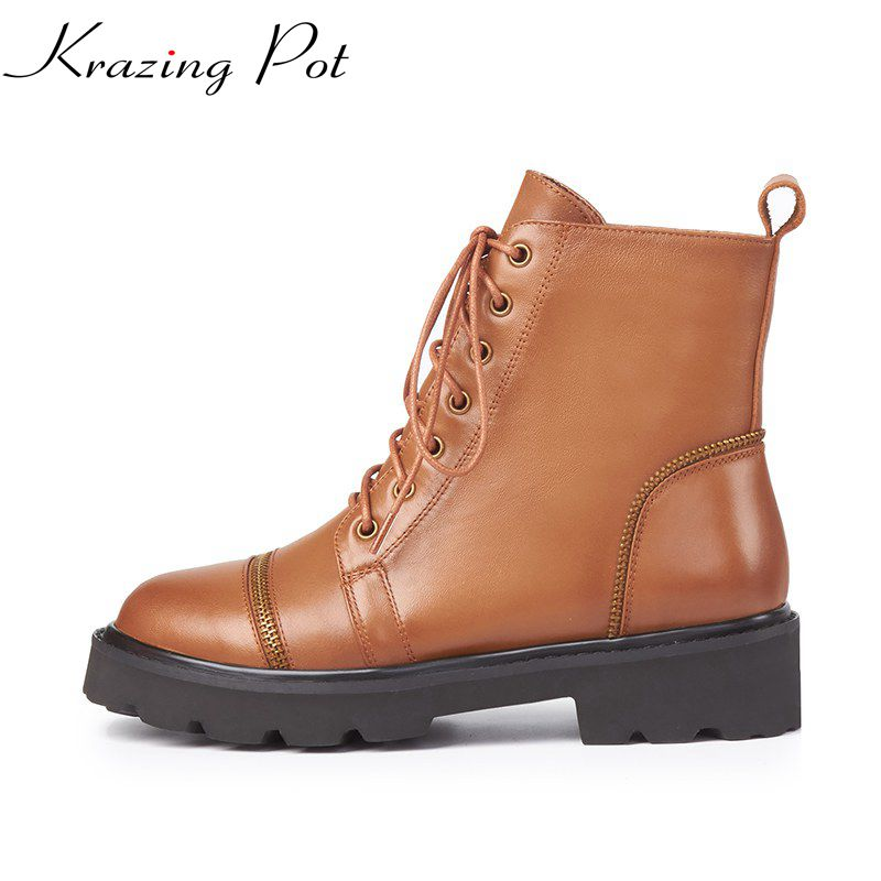 Krazing Pot genuine leather med heels streetwear round toe lace up zipper decoration street fashion punk style ankle boots L3f3 front lace up casual ankle boots autumn vintage brown new booties flat genuine leather suede shoes round toe fall female fashion