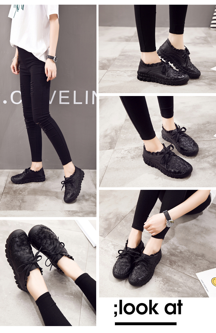 New Women's Handmade Genuine Leather Soft Lace Up Moccasin Shoes