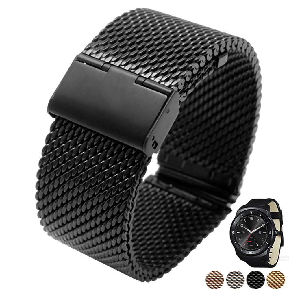 Milaneseストラップクイックリリース22ミリメートルlg g watch r w100 w110都会w150ステンレススチール時計バンドブレスレット