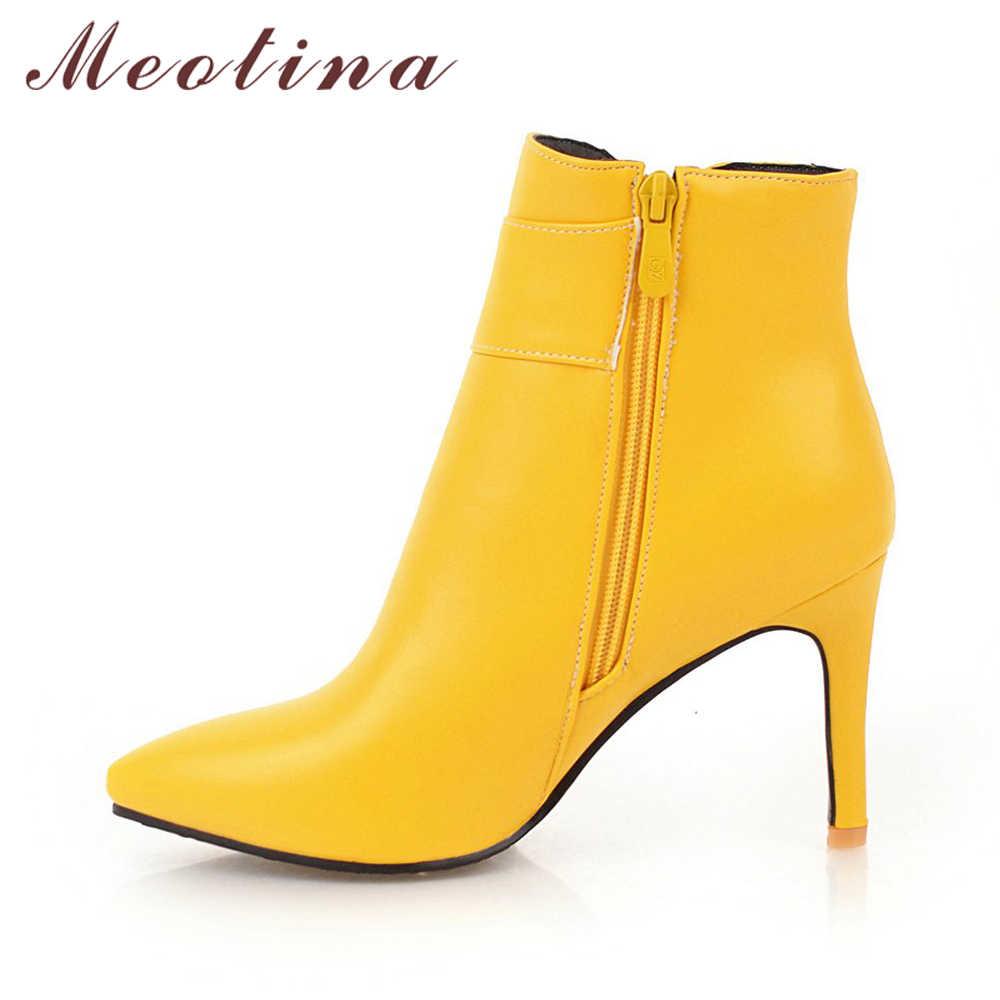 Meotina/Зимние ботильоны; женские ботинки на тонком высоком каблуке; короткие сапоги с кристаллами; пикантная женская обувь с острым носком; цвет желтый, белый; размеры 45, 46