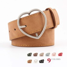 Women Ceinture Retro Trend Heart-Shaped Alloy Pin Buckle Belt New  High Quality Scrub Imitation Leather Casual Female Belts
