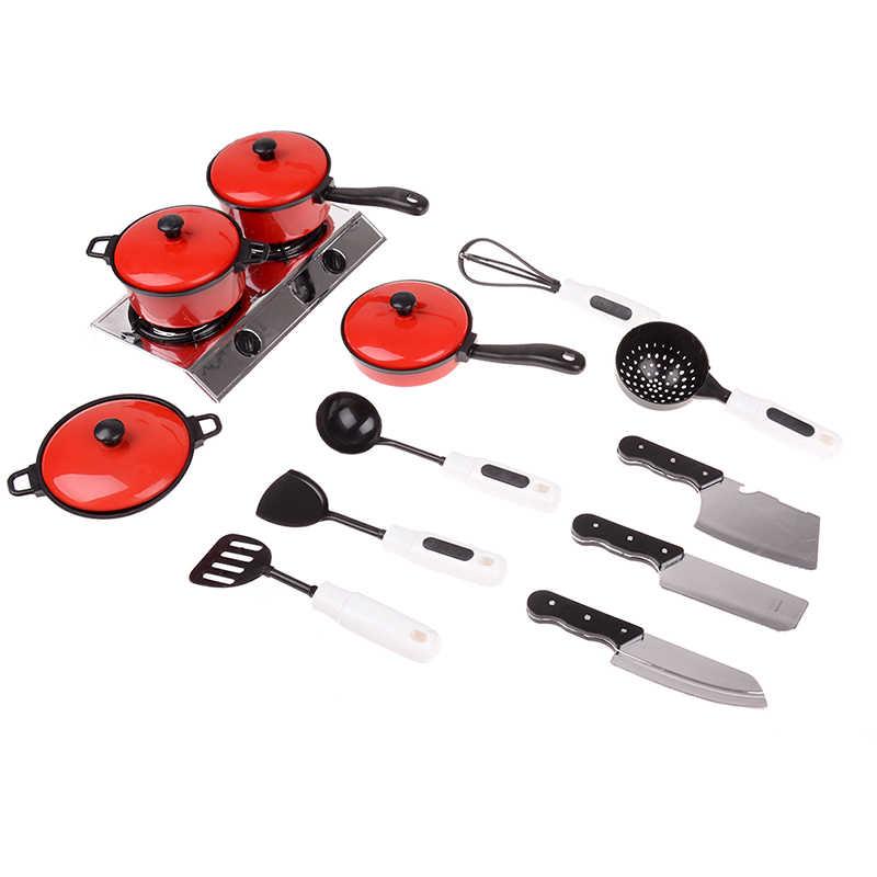 13pcs Gift Voor Meisje Miniatuur Keuken Pretend Speelhuis Speelgoed Set Keukengerei Kookpot Pan Kookgerei Rollenspel Simulatie kok