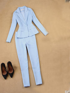 Pants Suit Set Light-Blue Two-Sets Professional Female Women's Blazer Spring New And