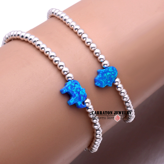 New Fashion Elastic String Synthetic Opal Hamsa Hand of Fatima Elephant with 925 Sterling Silver Bead Bracelet