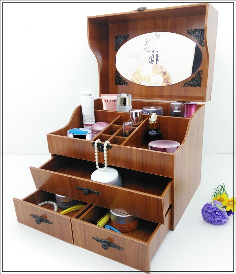 화장품 상자 드레서 데스크 박스 서랍 타입 미러 스토리지 박스와 간단하고 사랑스러운 한국어 나무 커버-에서보관함 & 쓰레기통부터 홈 & 가든 의  그룹 1