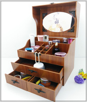 Cosmetics box dresser desk box drawer type simple and lovely Korean wooden cover with mirror Storage Boxes