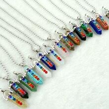 Натуральный камень lapis кварцевый кристалл опал микс столб талисманы чакра кулон из нержавеющей стали ожерелье для женщин модные ювелирные изделия 1 шт