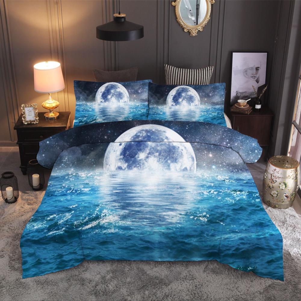 3D Moon In The Water Beddingt Set Pillowcas Duvet Cover For Kids 2/3pcs Bedclothes Quilt Cover Fashion HomeTextile Drop Ship