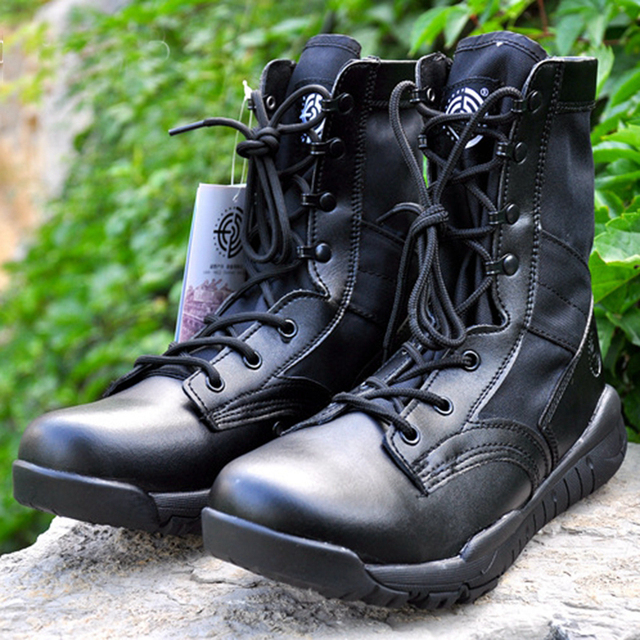 Military Outdoor Sports Hiking Camping Fishing Hunting Training Boots Men Combat Tactical Desert Leather Boots EUR Size 39-45