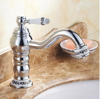 Free Shipping New Easy Installation Brass Chrome Blue And White Porcelain Elegant Washbasin Faucet Bath Hot