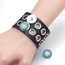 23CM Adjustable Snap Bracelet Vintage Hollow Leather Fit 18mm Button For Men Jewelry Watch Belt 0593