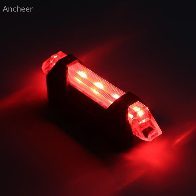 Ancheer высокое качество велосипедов задний фонарь Новый Литий-Ионный Аккумулятор USB Аккумуляторная Водонепроницаемый LED Bicycle Задний Фонарь