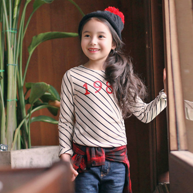 girls clothes  long sleeves children T-shirt stripe bottoming shirt for girs tees free shipping