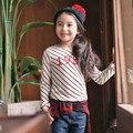 Ropa de las muchachas largas mangas de los niños la Camiseta de la raya que basa la camisa para girs tees envío gratis