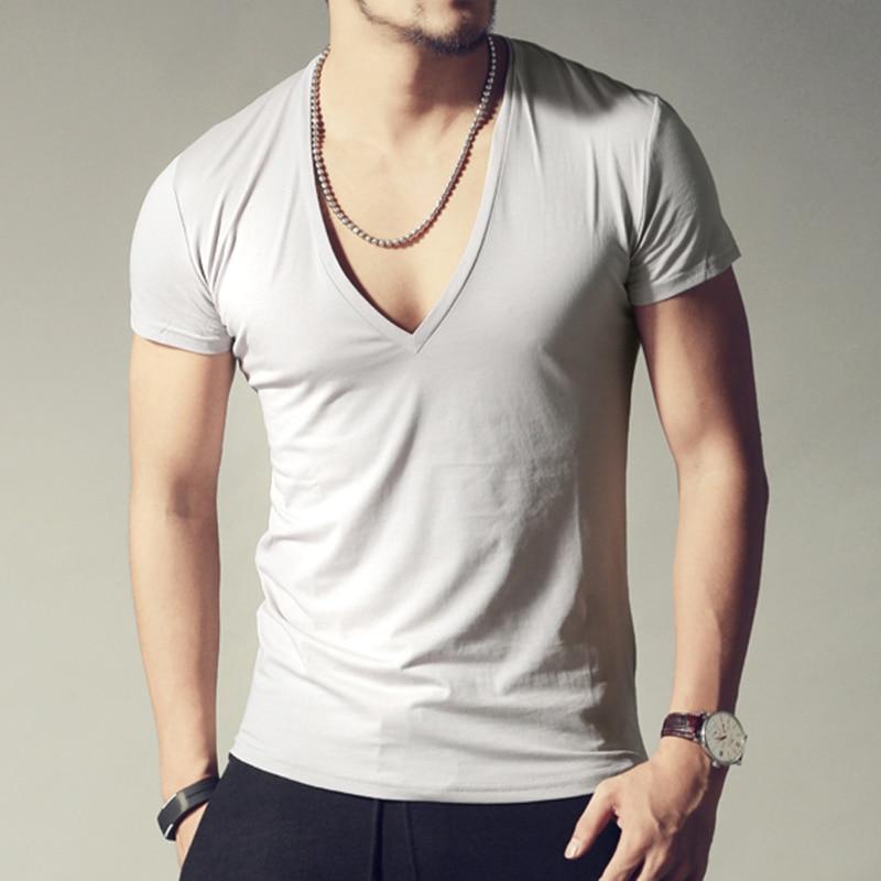 Buy men 39 s brand v neck sexy t shirt men cotton lycra t shirts short sleeve tops - Tee shirt sexy ...