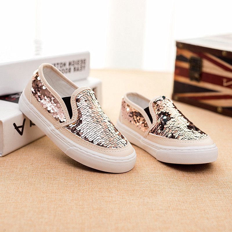 2019 Toddler Girls Shoes Teen Sneakers Girls Trainers Glitter Sequined Kids Canvas Shoes Children Casual Shining Shoes  690