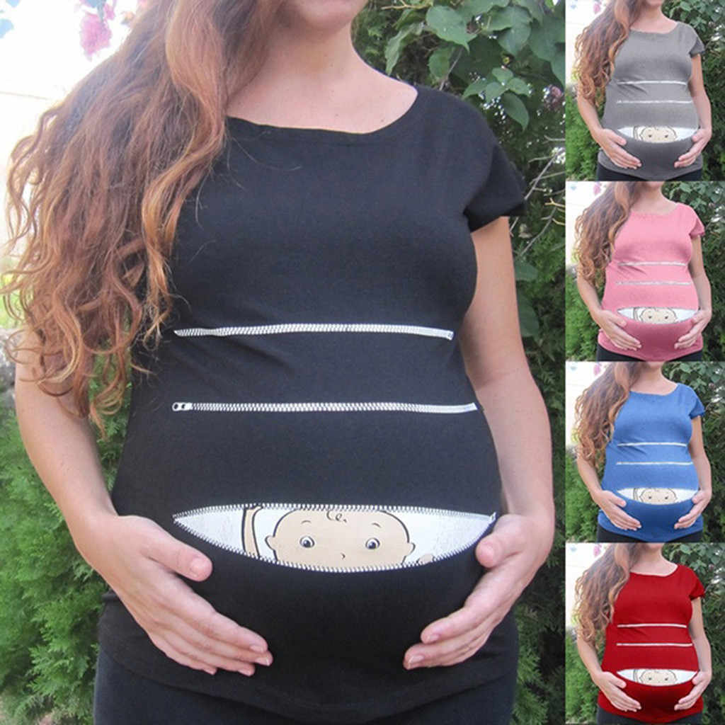 2019 สตรีการตั้งครรภ์เสื้อผ้า ropa de mujer พยาบาลคลอดบุตรเด็กน่ารักรูปแบบพิมพ์เสื้อลำลองตั้งครรภ์ Tops