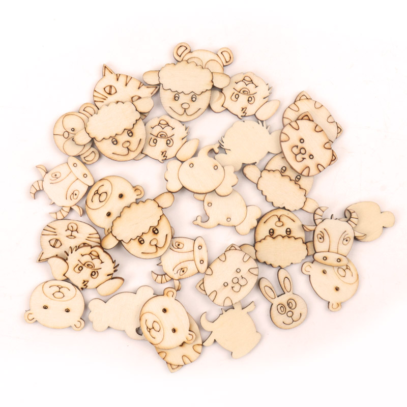 Handmade Wooden Crafts Accessory Home Decoration Scrapbookings DIY Mix Animal Cat Cow Monkey Mouse Wood Ornaments 25-35mm 20pcs