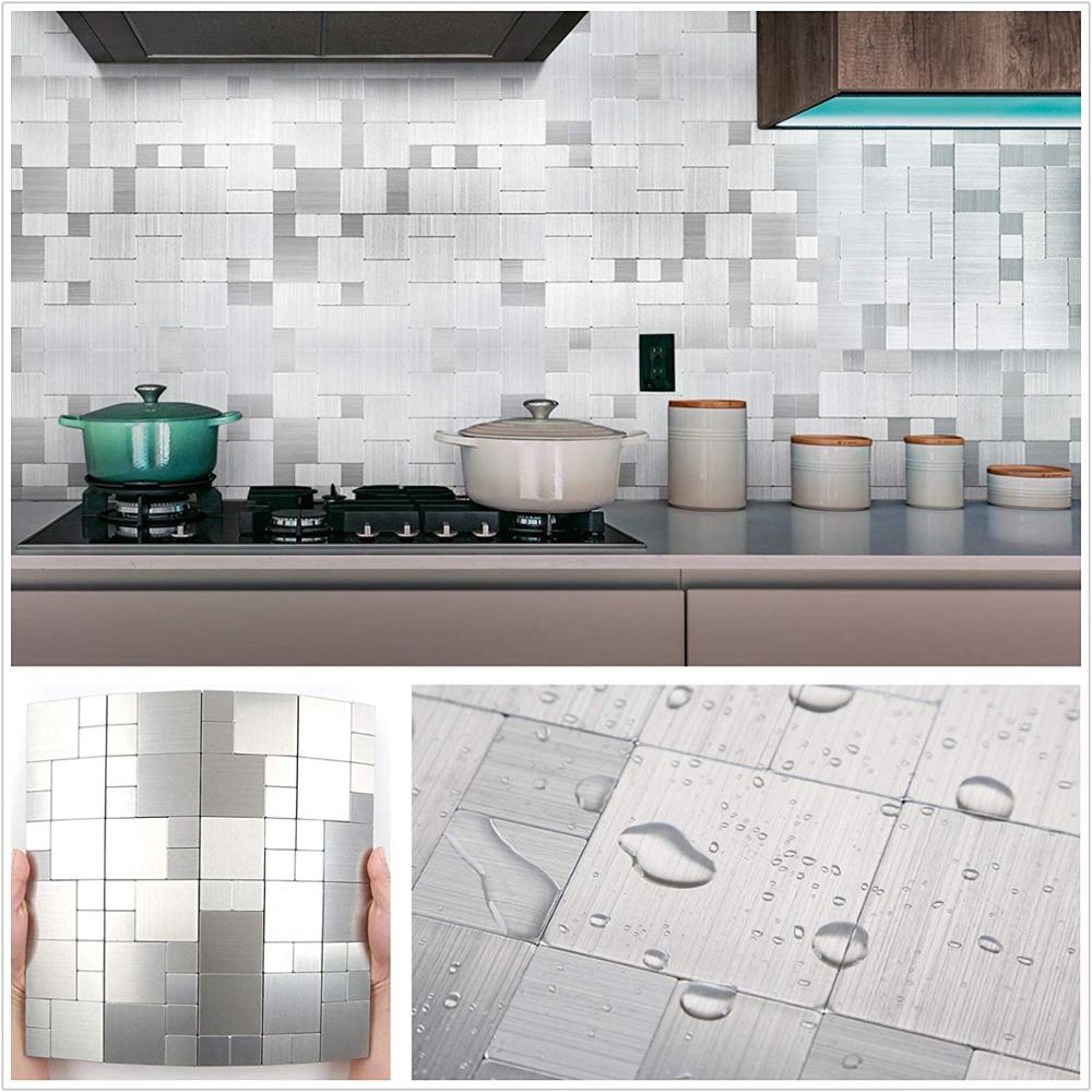 Fast Shipping 4MM Peel and Stick Metal Mosaic Wall Tiles For Bathroom 12 Alloy Brush Dining Room Backsplash 4 PCS A Lot