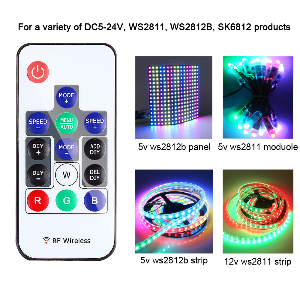 WS2812B Pixel Controller RGB Control WS2811 SK6812 300 kinds of changes Wireless RF Digital Color LED Strip Light  DC 5V-24V
