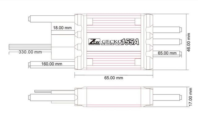 ZTW Gecko 155A SBEC 8A sin escobillas ESC gran rendimiento para aeroplano RC Multirotor
