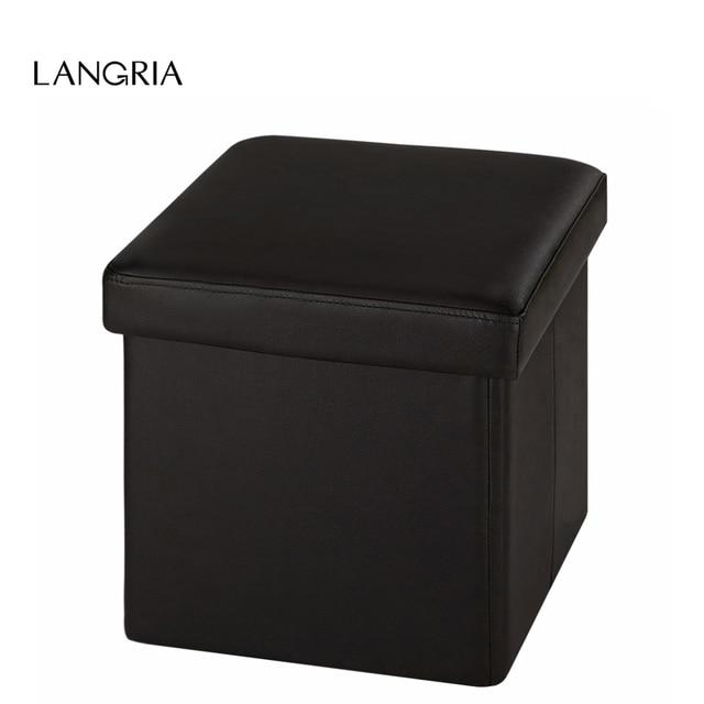 Langria moderno Nuevo Faux cuero otomana de almacenamiento plegable ...