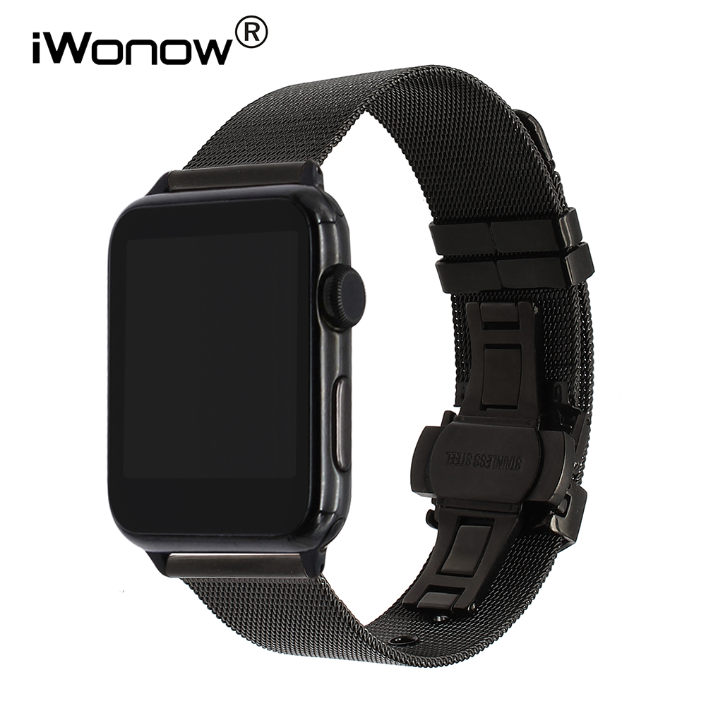 Milanese Watchband Butterfly Buckle Strap for iWatch Apple Watch Band 38mm 42mm Series 1 2 3 Stainless Steel Band Wrist Bracelet