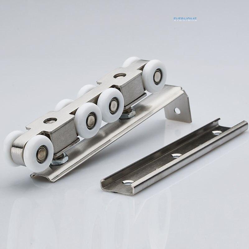 Acier inoxydable porte coulissante rouleau suspendu poulie suspendue muet rail roue balcon porte coulissante 8 roues, une paire par ensemble - 3