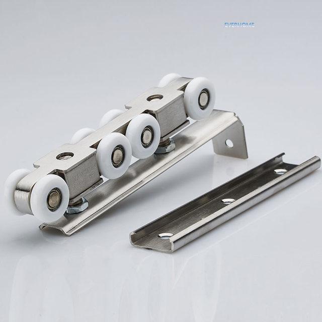 Stainless Steel Sliding Door Roller Hanging Pulley Hanging Mute Rail Wheel  Balcony Sliding Door 8 Wheels,one Pair Per Set