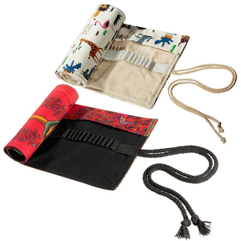 48 Holes Professional Paiting Canvas Roll Up Pencil Case Pen Curtain Pencil Bag School Pouch Makeup Comestic Storage Bag big capacity high quality canvas shark double layers pen pencil holder makeup case bag for school student with combination coded lock