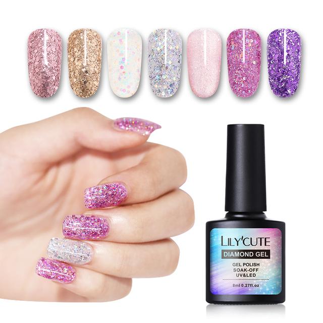 LILYCUTE 8ml Shiny Glitter UV Gel