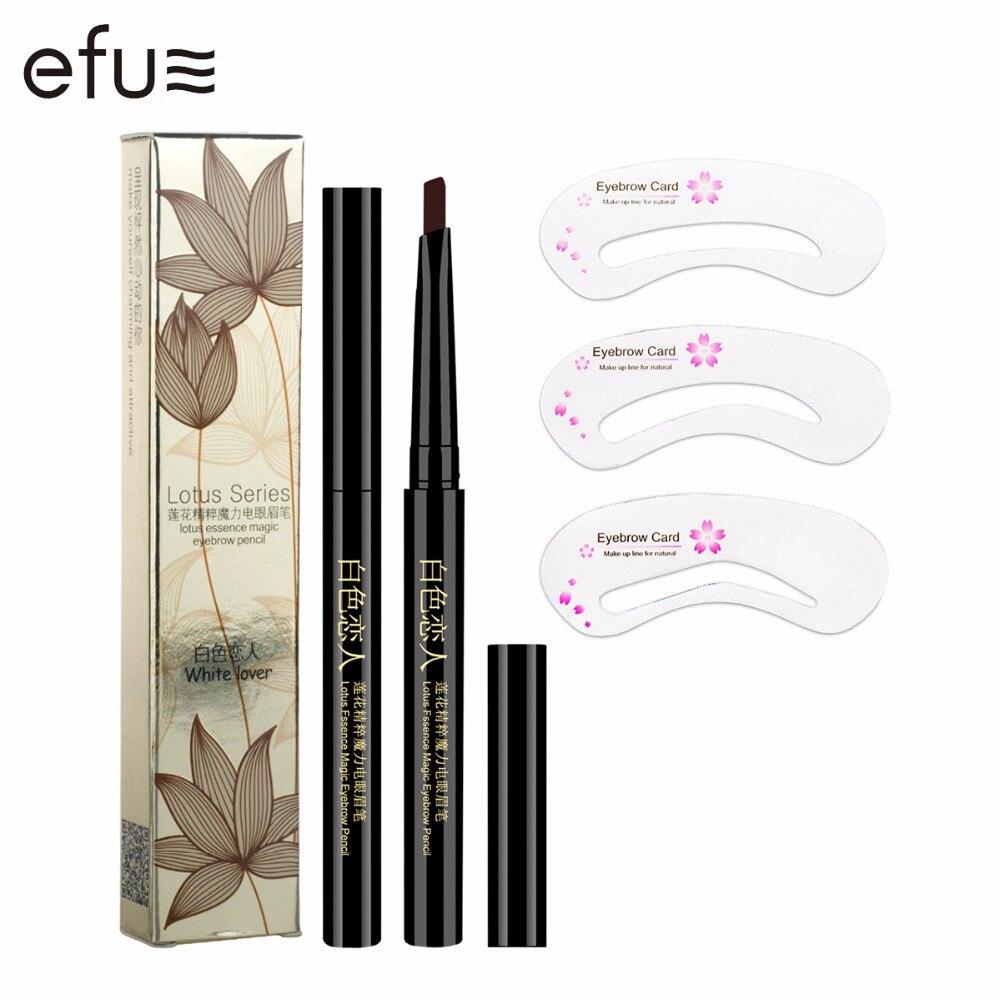 5 couleurs crayon à sourcils longue durée + moule à sourcils doux et lisse mode yeux 0.4g Lotus série maquillage marque EFU # 7046-A